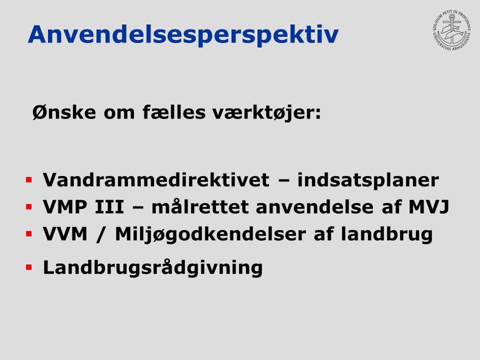 Anvendelsesperspektiv  Vandrammedirektivet – indsatsplaner  VMP III – målrettet anvendelse af MVJ  VVM / Miljøgodkendelser af landbrug  Landbrugsrådgivning Ønske om fælles værktøjer: