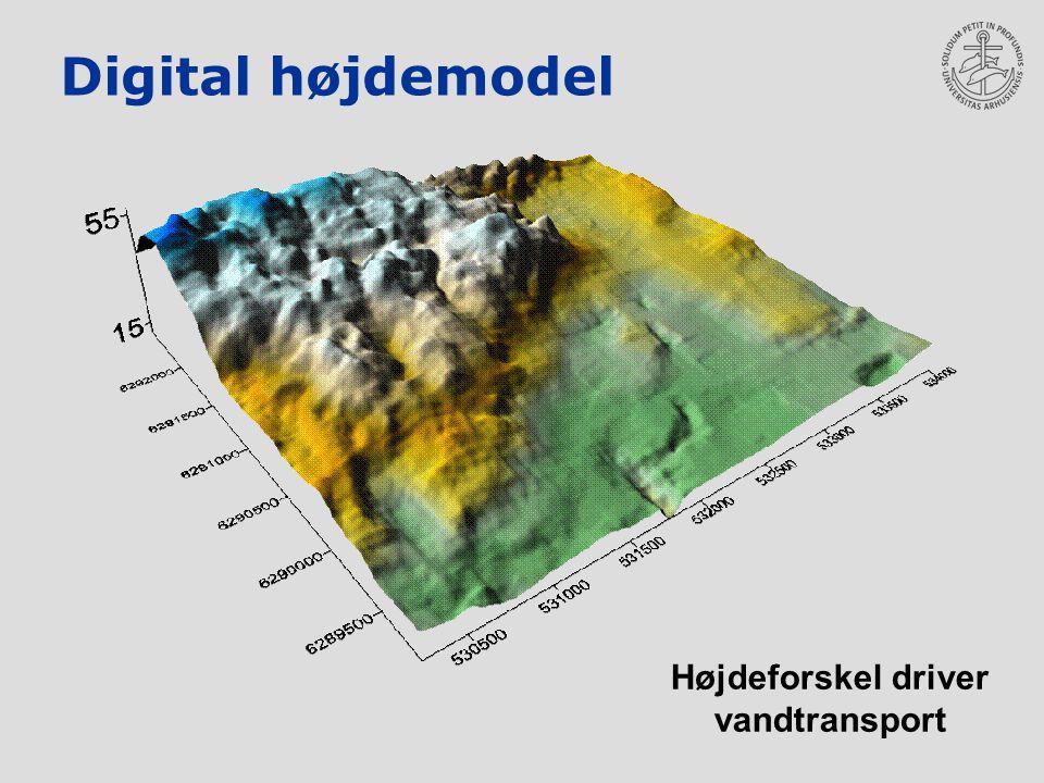 Digital højdemodel Højdeforskel driver vandtransport