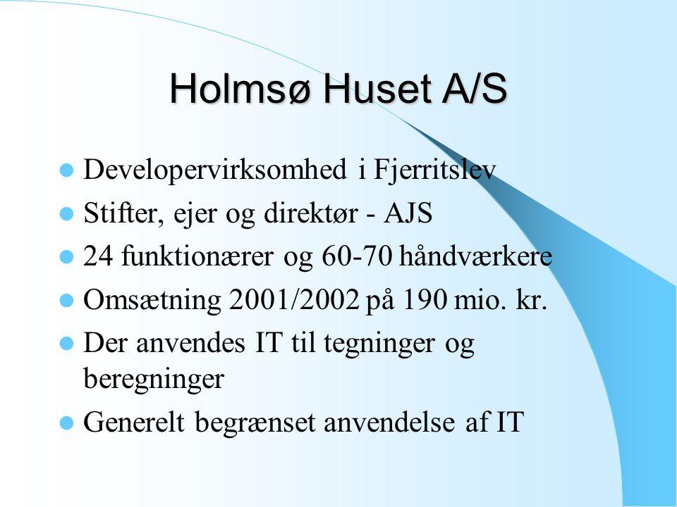 Holmsø Huset A/S Developervirksomhed i Fjerritslev Stifter, ejer og direktør - AJS 24 funktionærer og 60-70 håndværkere Omsætning 2001/2002 på 190 mio.