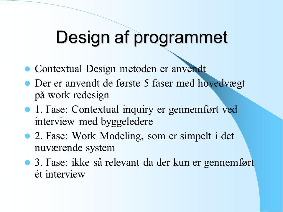 Design af programmet Contextual Design metoden er anvendt Der er anvendt de første 5 faser med hovedvægt på work redesign 1.