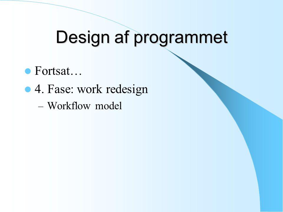 Design af programmet Fortsat… 4. Fase: work redesign – Workflow model