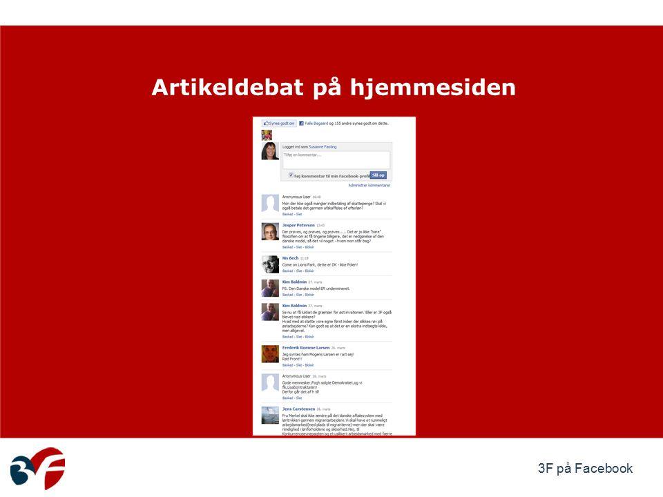 3F på Facebook Artikeldebat på hjemmesiden