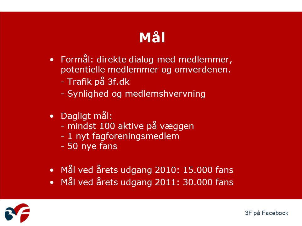 3F på Facebook Formål: direkte dialog med medlemmer, potentielle medlemmer og omverdenen.