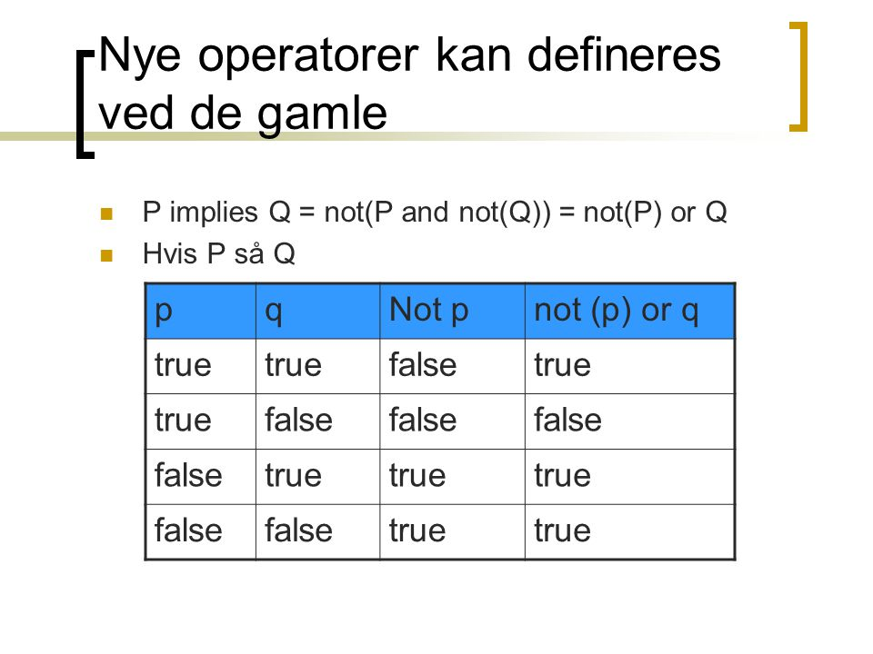 Nye operatorer kan defineres ved de gamle P implies Q = not(P and not(Q)) = not(P) or Q Hvis P så Q pqNot pnot (p) or q true falsetrue false true false true