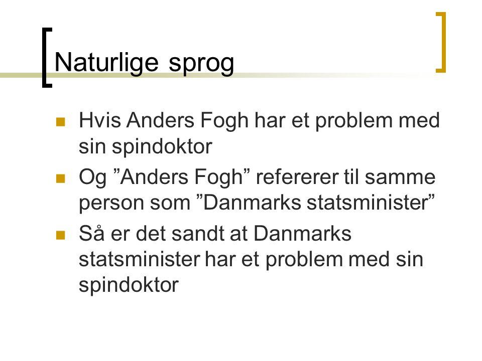 Naturlige sprog Hvis Anders Fogh har et problem med sin spindoktor Og Anders Fogh refererer til samme person som Danmarks statsminister Så er det sandt at Danmarks statsminister har et problem med sin spindoktor