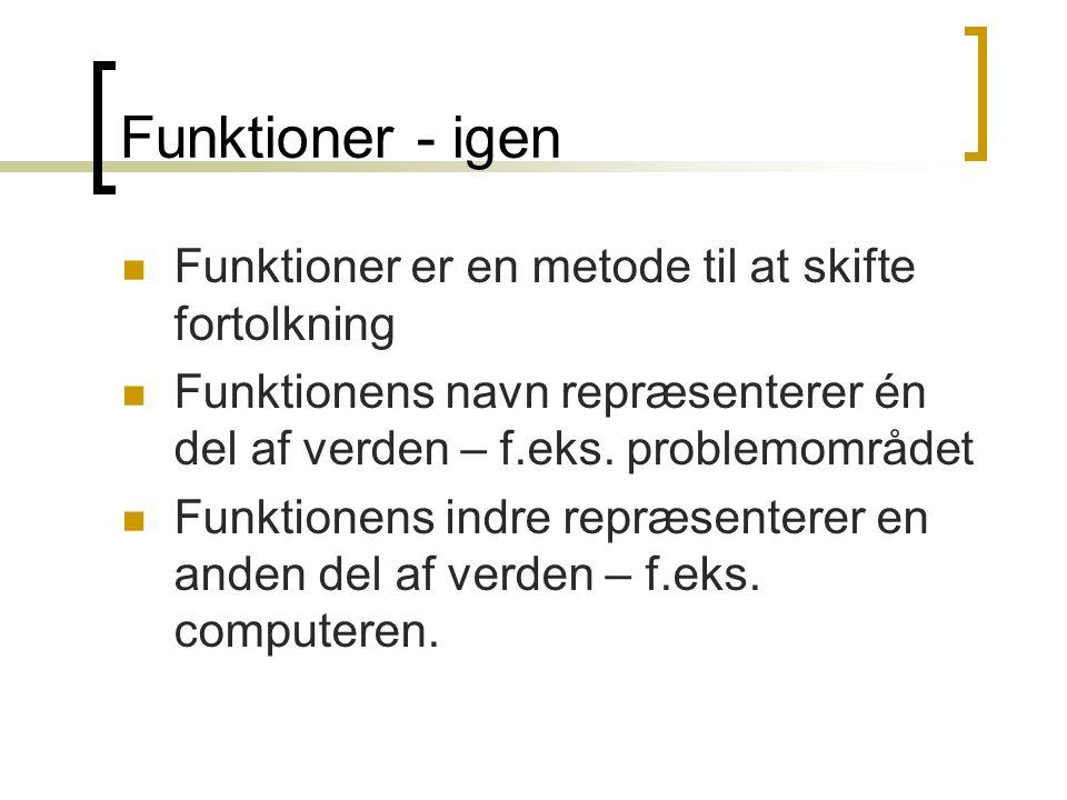 Funktioner - igen Funktioner er en metode til at skifte fortolkning Funktionens navn repræsenterer én del af verden – f.eks.