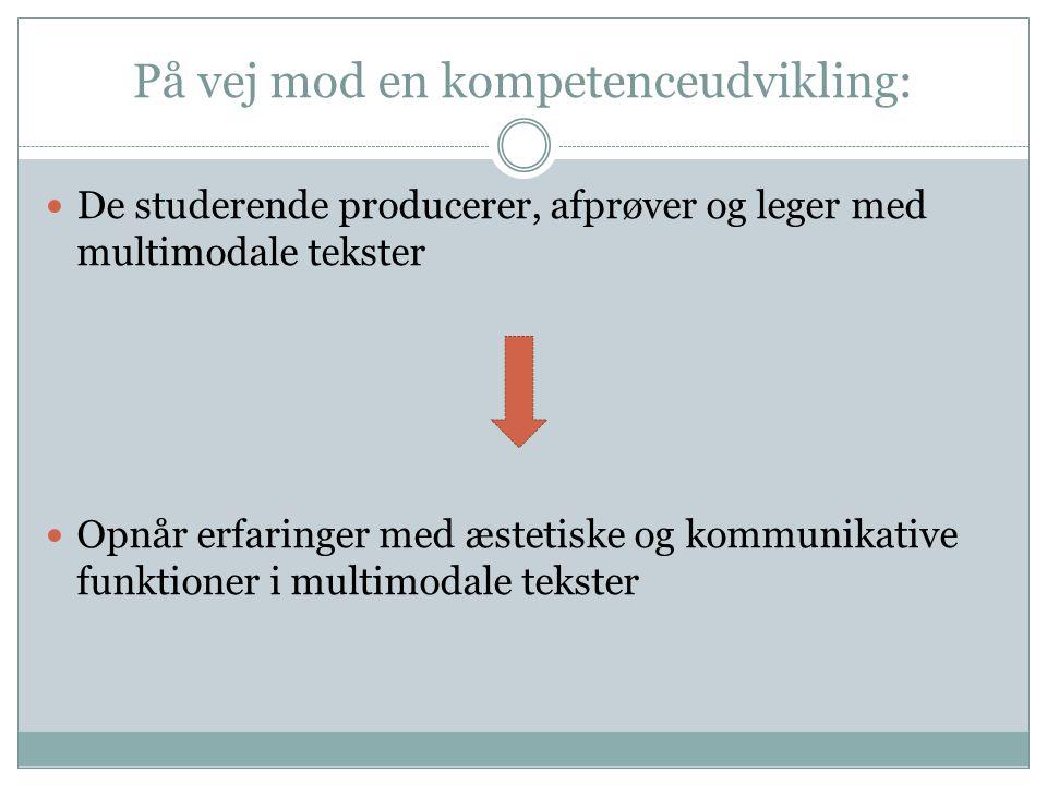 På vej mod en kompetenceudvikling: De studerende producerer, afprøver og leger med multimodale tekster Opnår erfaringer med æstetiske og kommunikative funktioner i multimodale tekster