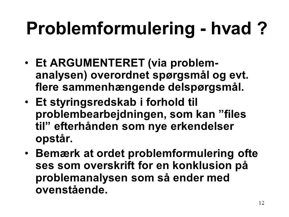 12 Problemformulering - hvad ? Et ARGUMENTERET (via problem- analysen) overordnet spørgsmål og evt. flere sammenhængende delspørgsmål. Et styringsreds