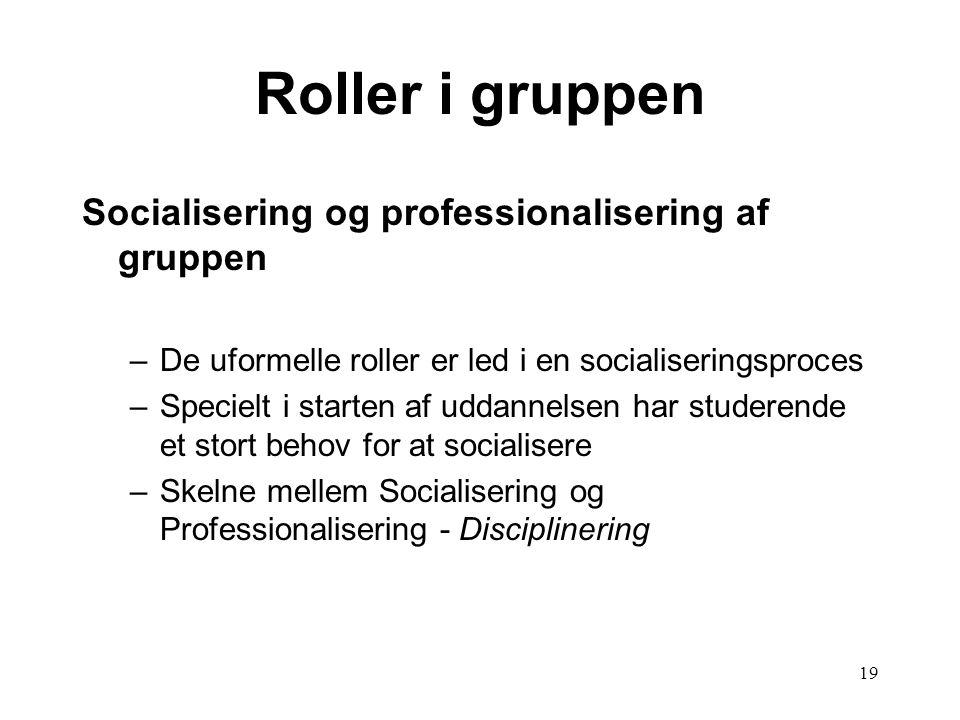 19 Roller i gruppen Socialisering og professionalisering af gruppen –De uformelle roller er led i en socialiseringsproces –Specielt i starten af uddan