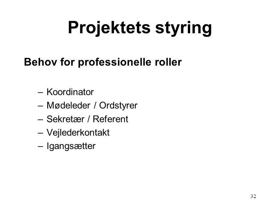 32 Projektets styring Behov for professionelle roller –Koordinator –Mødeleder / Ordstyrer –Sekretær / Referent –Vejlederkontakt –Igangsætter