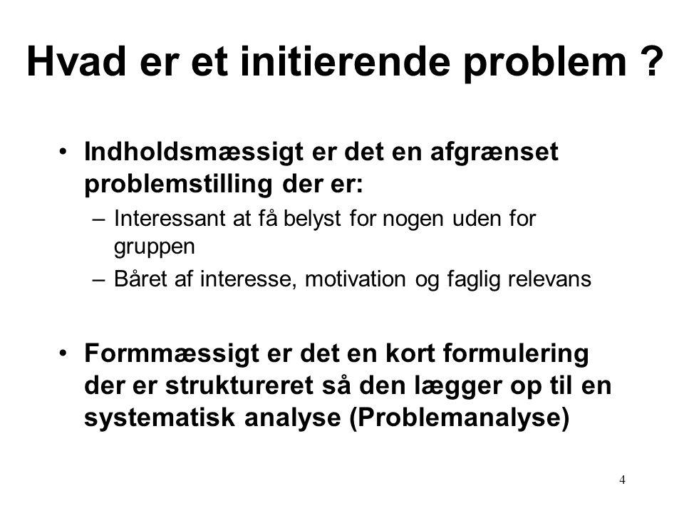 4 Hvad er et initierende problem ? Indholdsmæssigt er det en afgrænset problemstilling der er: –Interessant at få belyst for nogen uden for gruppen –B