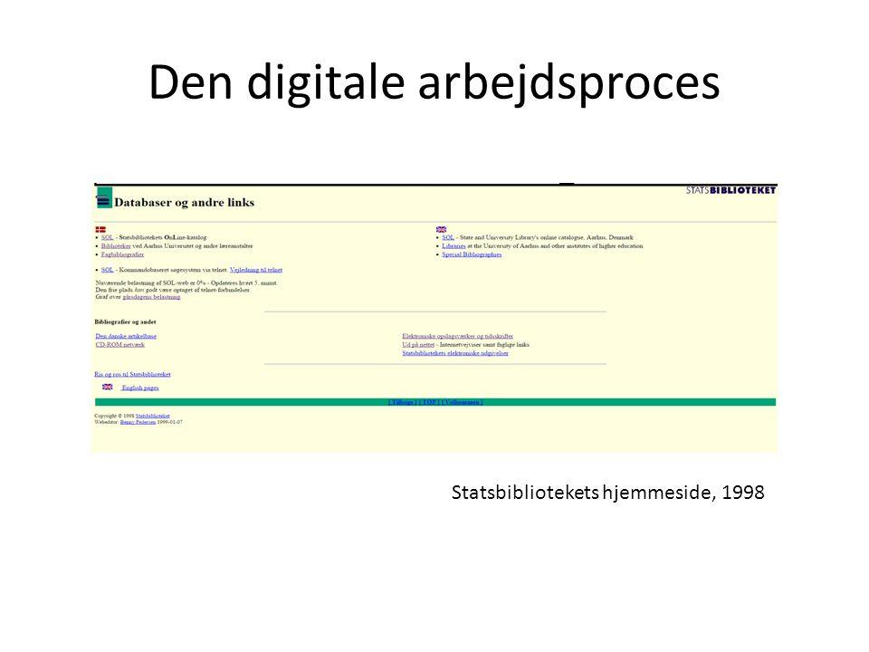 Den digitale arbejdsproces Statsbibliotekets hjemmeside, 1998