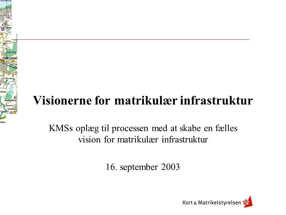Visionerne for matrikulær infrastruktur KMSs oplæg til processen med at skabe en fælles vision for matrikulær infrastruktur 16.