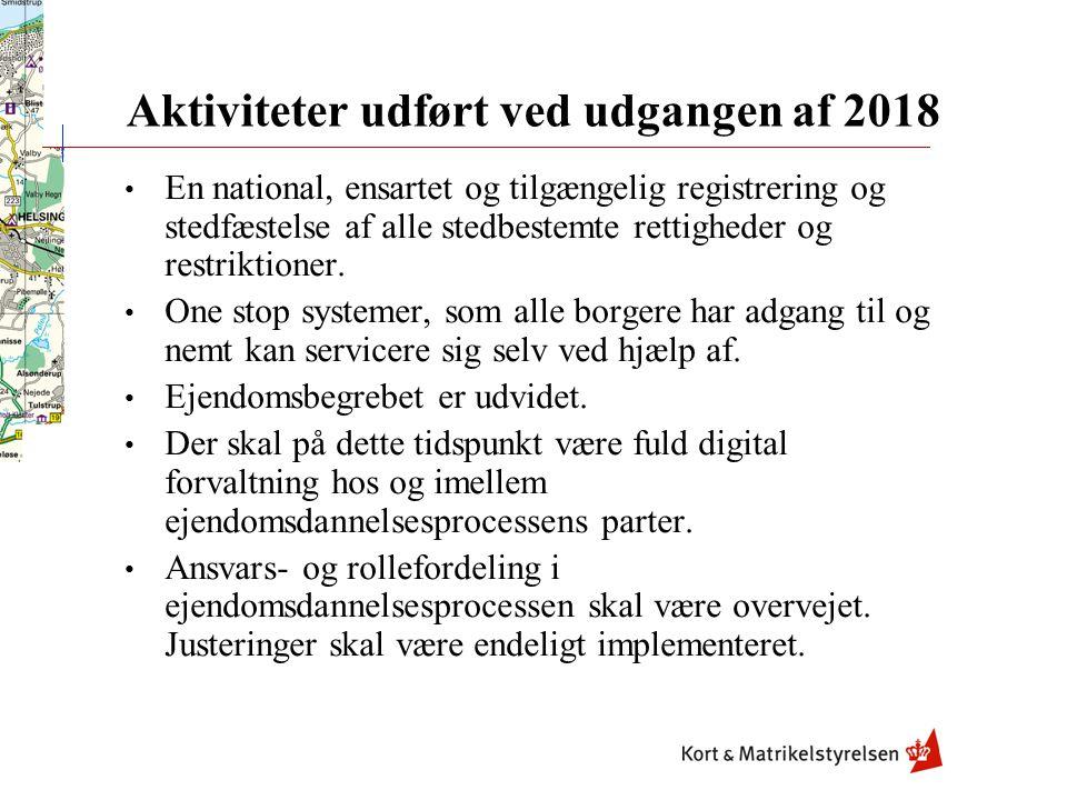 Aktiviteter udført ved udgangen af 2018 En national, ensartet og tilgængelig registrering og stedfæstelse af alle stedbestemte rettigheder og restriktioner.