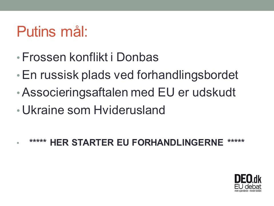 Putins mål: Frossen konflikt i Donbas En russisk plads ved forhandlingsbordet Associeringsaftalen med EU er udskudt Ukraine som Hviderusland ***** HER STARTER EU FORHANDLINGERNE *****