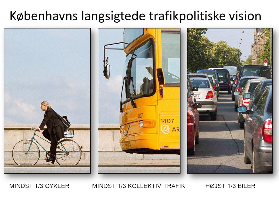 Københavns langsigtede trafikpolitiske vision MINDST 1/3 CYKLERMINDST 1/3 KOLLEKTIV TRAFIKHØJST 1/3 BILER