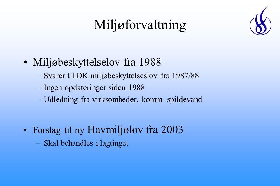Miljøforvaltning Miljøbeskyttelselov fra 1988 –Svarer til DK miljøbeskyttelseslov fra 1987/88 –Ingen opdateringer siden 1988 –Udledning fra virksomheder, komm.