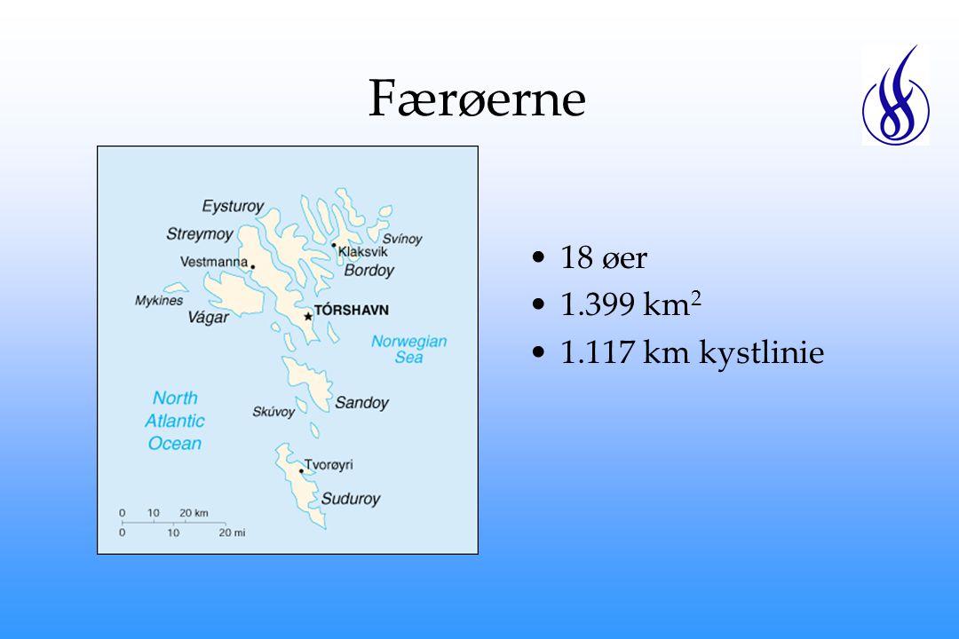 Færøerne 18 øer 1.399 km 2 1.117 km kystlinie