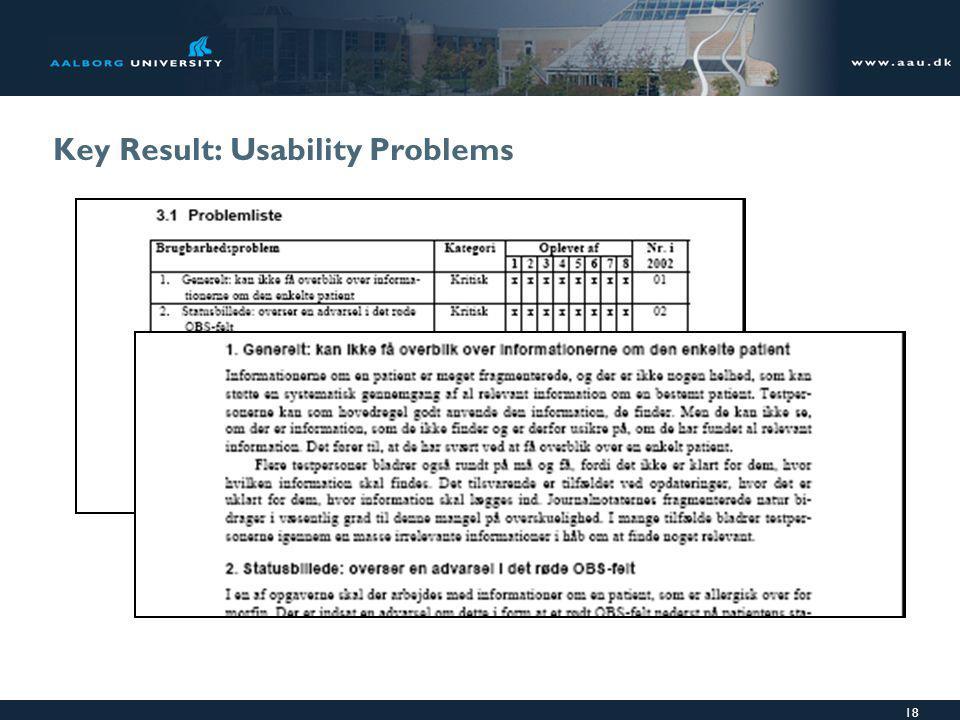 18 Key Result: Usability Problems