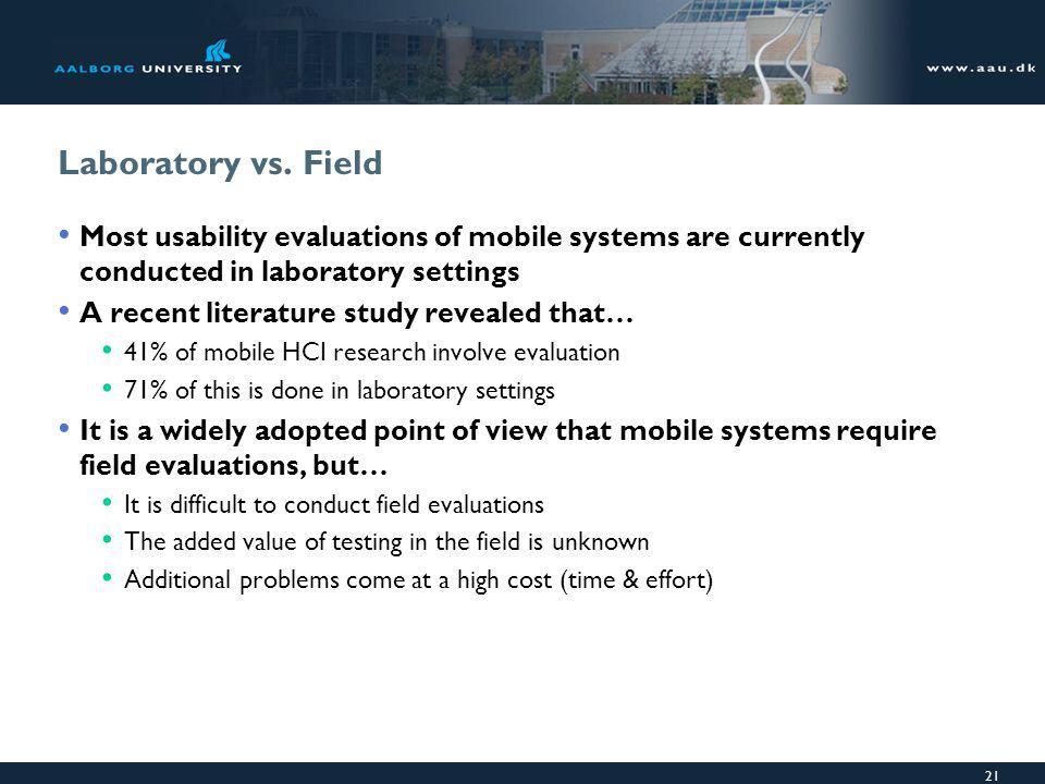 21 Laboratory vs.