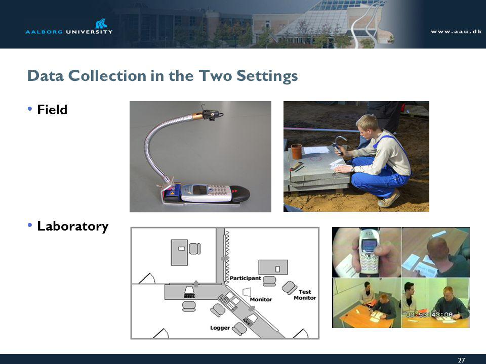 27 Data Collection in the Two Settings Field Laboratory