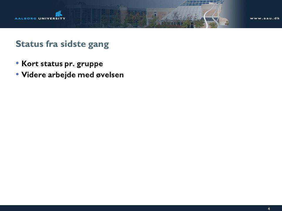 4 Status fra sidste gang Kort status pr. gruppe Videre arbejde med øvelsen