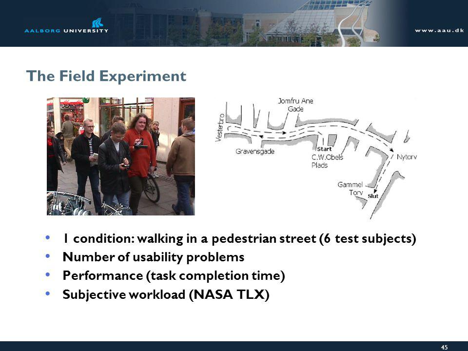 45 The Field Experiment 1 condition: walking in a pedestrian street (6 test subjects) Number of usability problems Performance (task completion time) Subjective workload (NASA TLX)