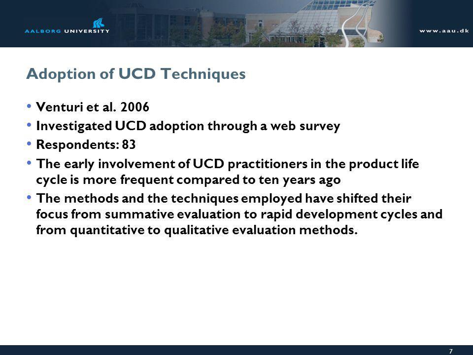 7 Adoption of UCD Techniques Venturi et al.