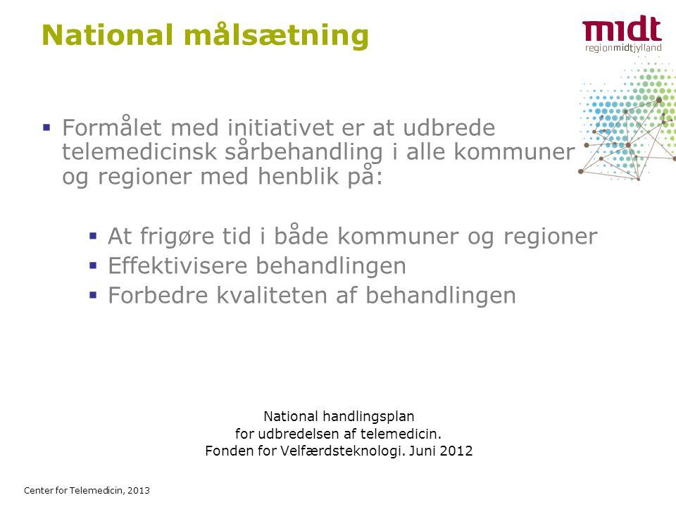 Center for Telemedicin, 2013 National målsætning  Formålet med initiativet er at udbrede telemedicinsk sårbehandling i alle kommuner og regioner med henblik på:  At frigøre tid i både kommuner og regioner  Effektivisere behandlingen  Forbedre kvaliteten af behandlingen National handlingsplan for udbredelsen af telemedicin.