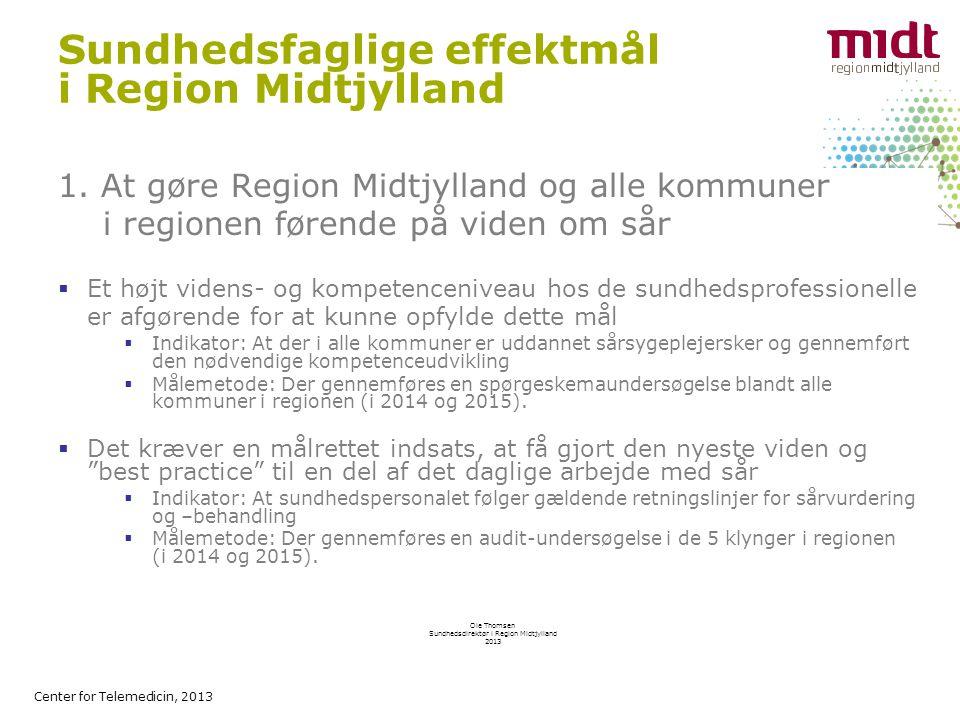 Center for Telemedicin, 2013 Sundhedsfaglige effektmål i Region Midtjylland 1.