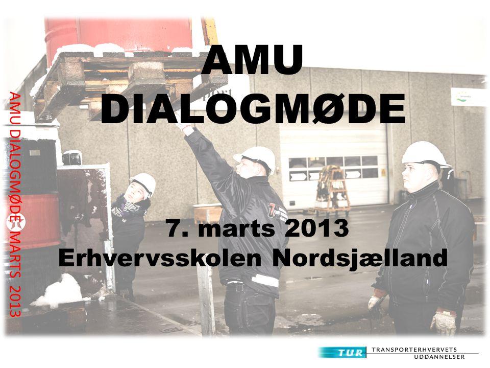 AMU DIALOGMØDE MARTS 2013 AMU DIALOGMØDE 7. marts 2013 Erhvervsskolen Nordsjælland