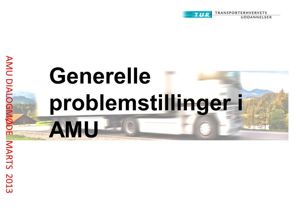 Generelle problemstillinger i AMU AMU DIALOGMØDE MARTS 2013