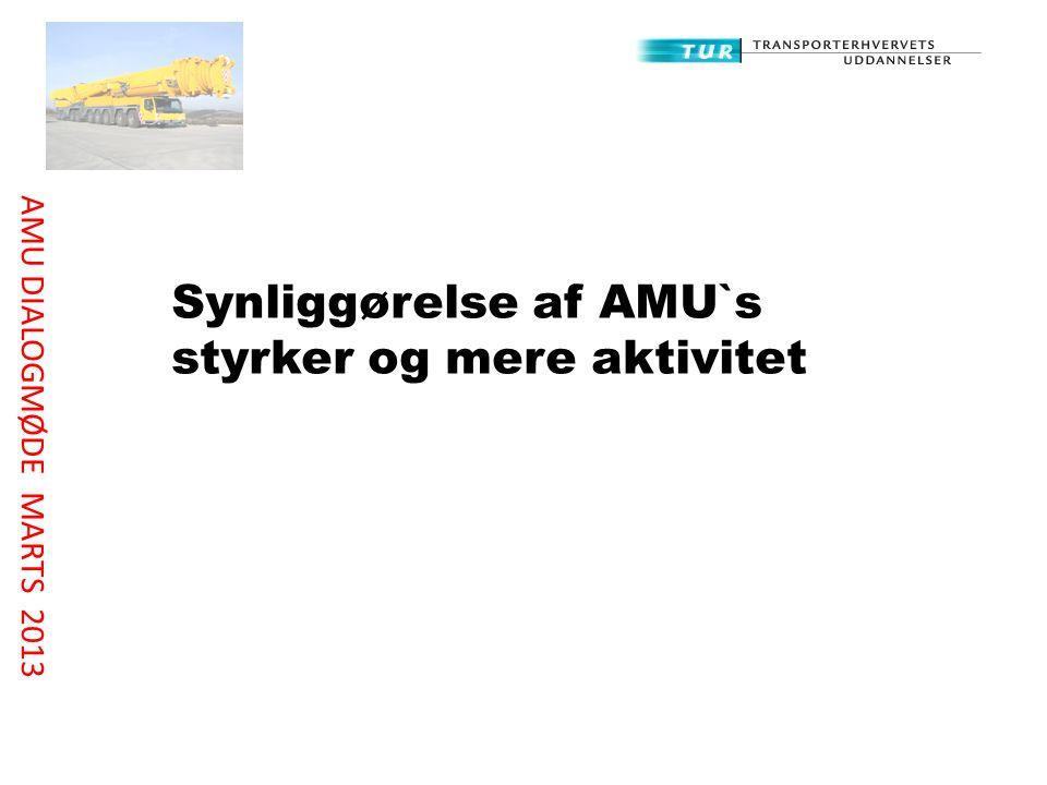 Synliggørelse af AMU`s styrker og mere aktivitet AMU DIALOGMØDE MARTS 2013