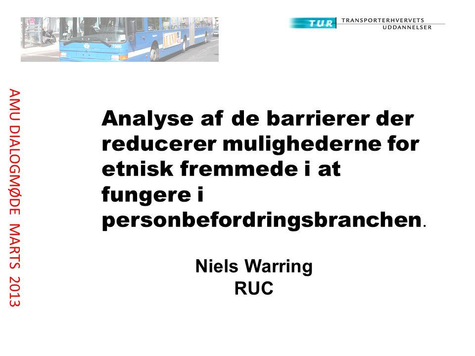 Analyse af de barrierer der reducerer mulighederne for etnisk fremmede i at fungere i personbefordringsbranchen.