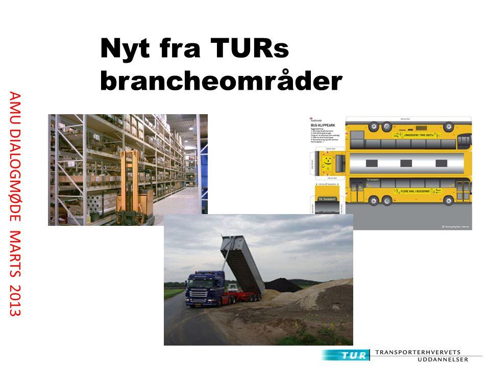 Nyt fra TURs brancheområder AMU DIALOGMØDE MARTS 2013