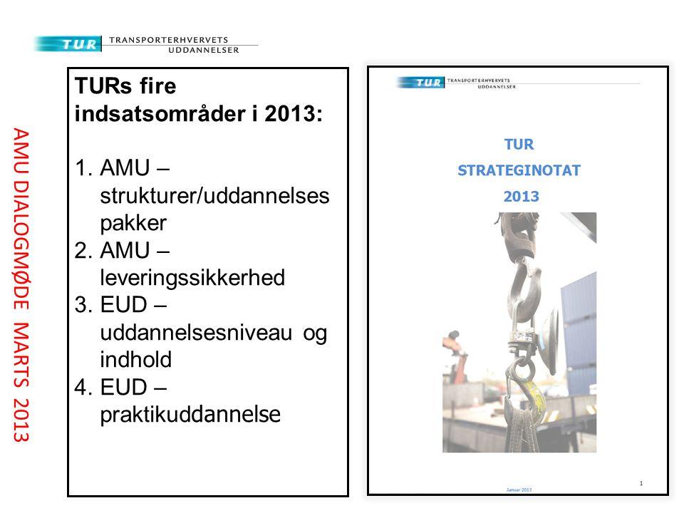 TURs fire indsatsområder i 2013: 1.AMU – strukturer/uddannelses pakker 2.AMU – leveringssikkerhed 3.EUD – uddannelsesniveau og indhold 4.EUD – praktikud dannelse AMU DIALOGMØDE MARTS 2013