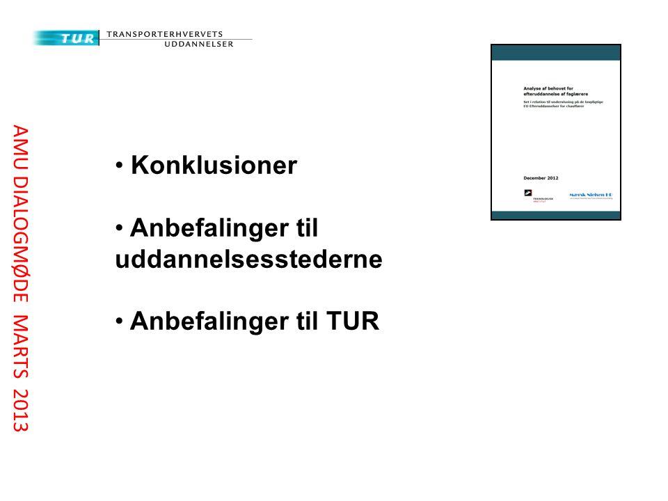 Konklusioner Anbefalinger til uddannelsesstederne Anbefalinger til TUR AMU DIALOGMØDE MARTS 2013