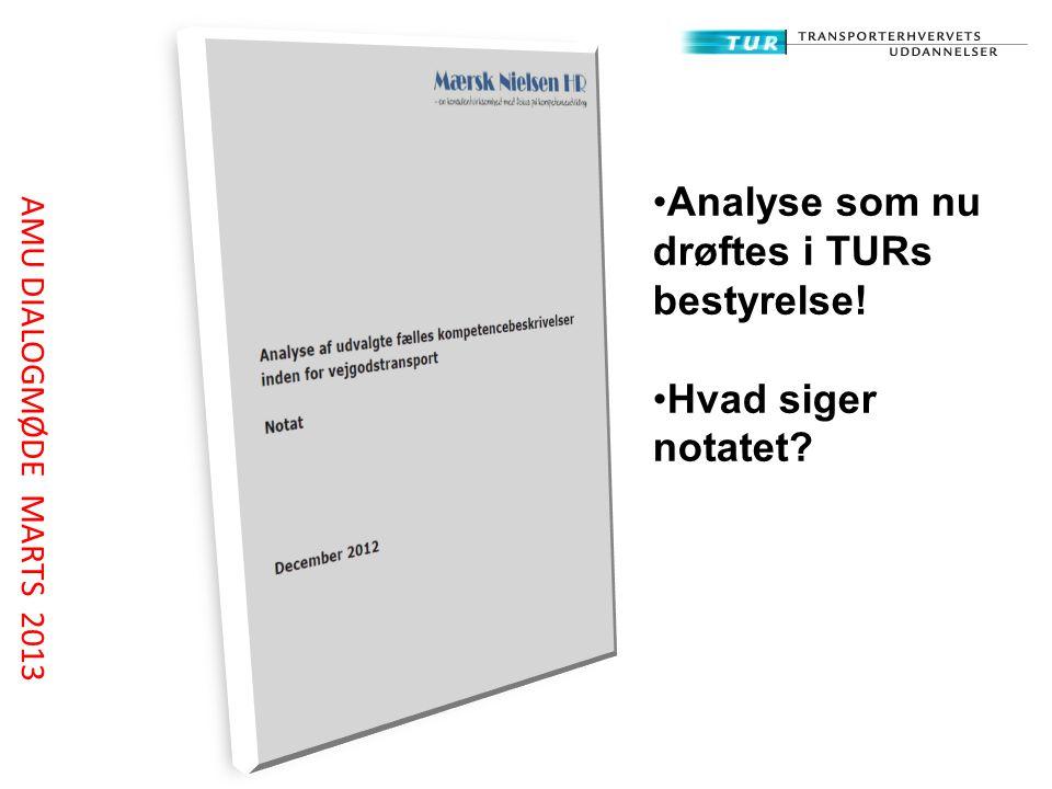 Analyse som nu drøftes i TURs bestyrelse! Hvad siger notatet