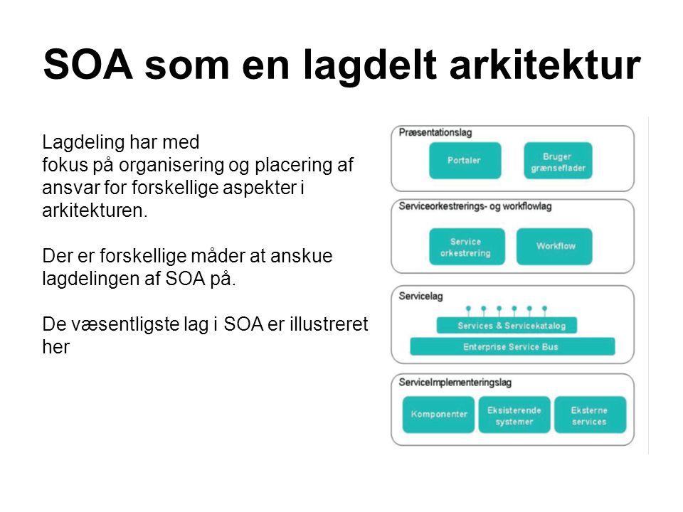 SOA som en lagdelt arkitektur Lagdeling har med fokus på organisering og placering af ansvar for forskellige aspekter i arkitekturen.