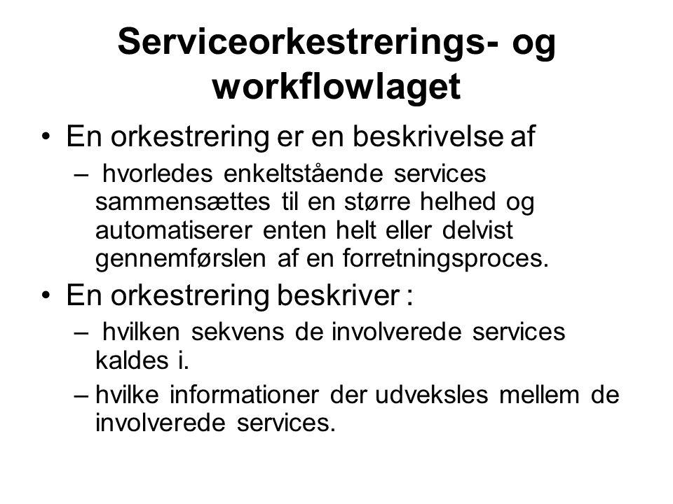 Serviceorkestrerings- og workflowlaget En orkestrering er en beskrivelse af – hvorledes enkeltstående services sammensættes til en større helhed og automatiserer enten helt eller delvist gennemførslen af en forretningsproces.