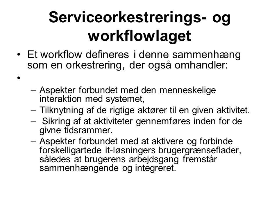 Serviceorkestrerings- og workflowlaget Et workflow defineres i denne sammenhæng som en orkestrering, der også omhandler: –Aspekter forbundet med den menneskelige interaktion med systemet, –Tilknytning af de rigtige aktører til en given aktivitet.