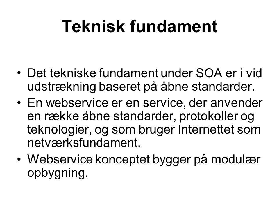 Teknisk fundament Det tekniske fundament under SOA er i vid udstrækning baseret på åbne standarder.