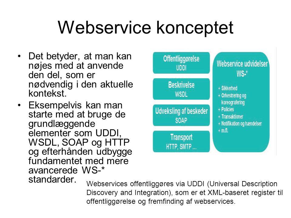 Webservice konceptet Det betyder, at man kan nøjes med at anvende den del, som er nødvendig i den aktuelle kontekst.