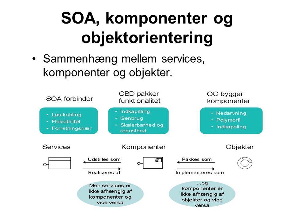 SOA, komponenter og objektorientering Sammenhæng mellem services, komponenter og objekter.