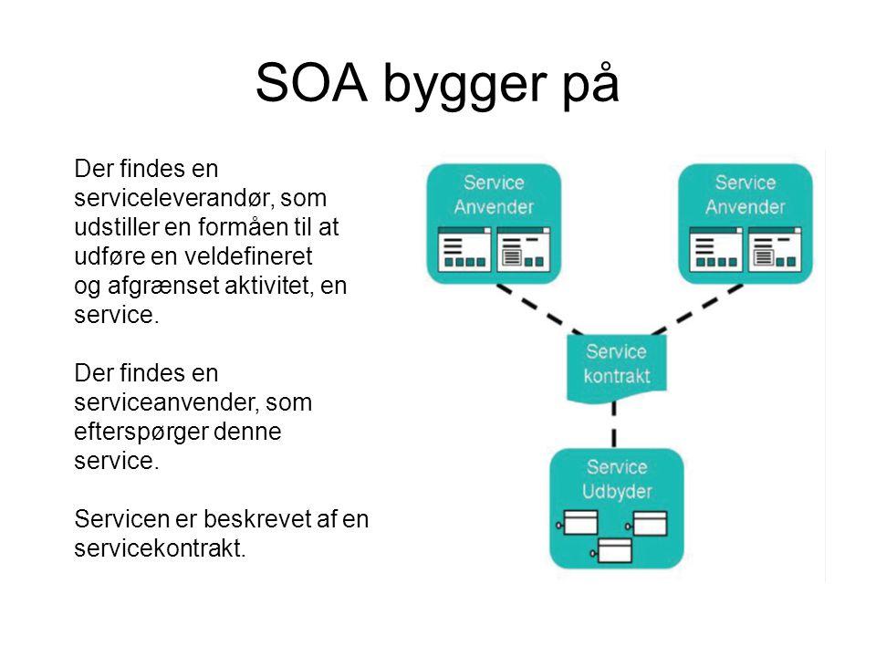 SOA bygger på Der findes en serviceleverandør, som udstiller en formåen til at udføre en veldefineret og afgrænset aktivitet, en service.