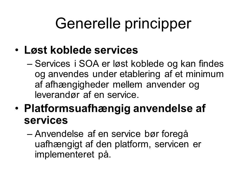 Generelle principper Løst koblede services –Services i SOA er løst koblede og kan findes og anvendes under etablering af et minimum af afhængigheder mellem anvender og leverandør af en service.