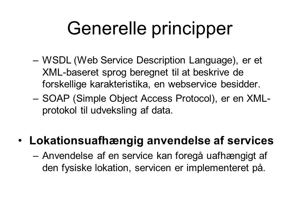 Generelle principper –WSDL (Web Service Description Language), er et XML-baseret sprog beregnet til at beskrive de forskellige karakteristika, en webservice besidder.
