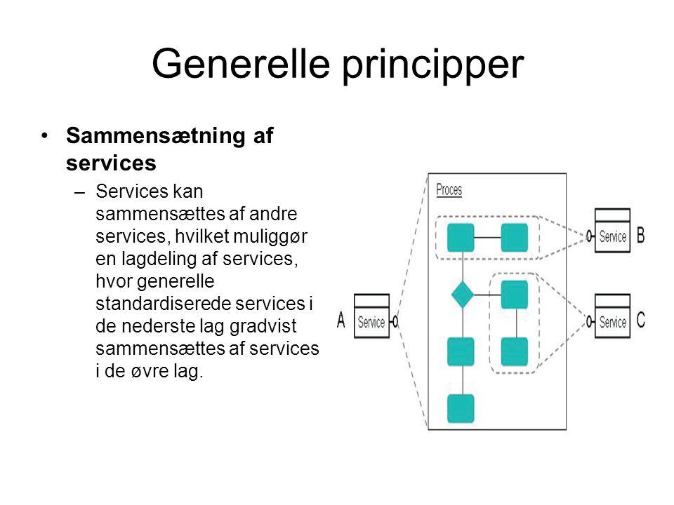 Generelle principper Sammensætning af services –Services kan sammensættes af andre services, hvilket muliggør en lagdeling af services, hvor generelle standardiserede services i de nederste lag gradvist sammensættes af services i de øvre lag.