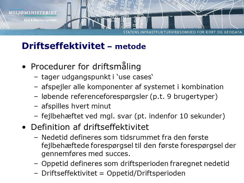 Driftseffektivitet – metode Procedurer for driftsmåling –tager udgangspunkt i 'use cases' –afspejler alle komponenter af systemet i kombination –løbende referenceforespørgsler (p.t.