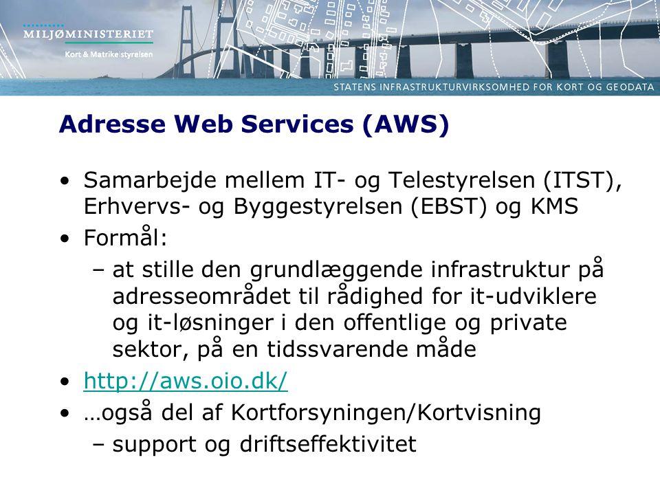 Adresse Web Services (AWS) Samarbejde mellem IT- og Telestyrelsen (ITST), Erhvervs- og Byggestyrelsen (EBST) og KMS Formål: –at stille den grundlæggende infrastruktur på adresseområdet til rådighed for it-udviklere og it-løsninger i den offentlige og private sektor, på en tidssvarende måde http://aws.oio.dk/ …også del af Kortforsyningen/Kortvisning –support og driftseffektivitet